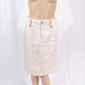 J.CREW Beige Khaki Linen Pencil Skirt SZ 0